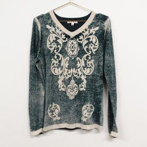 CAbi Damask 261 Cashmere V-Neck Sweater Size Large
